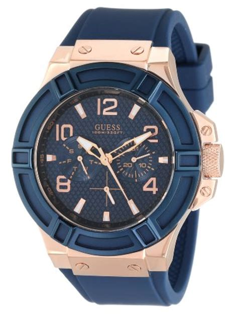 Guess W0149l5 Rosegold Blue guess s u0247g3 rigor standout sport blue and