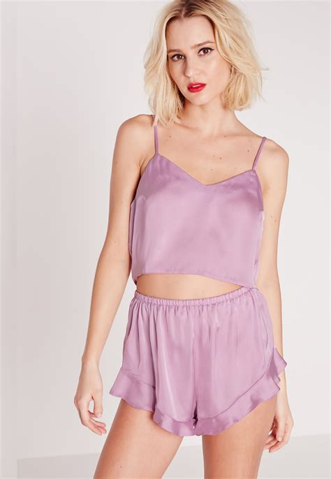 Set Miss Purple lyst missguided satin cropped pyjama set lilac in purple