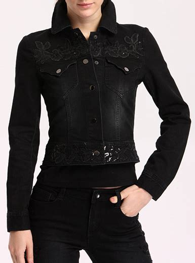 Metal Button Denim Jacket womens denim jacket black metal buttons