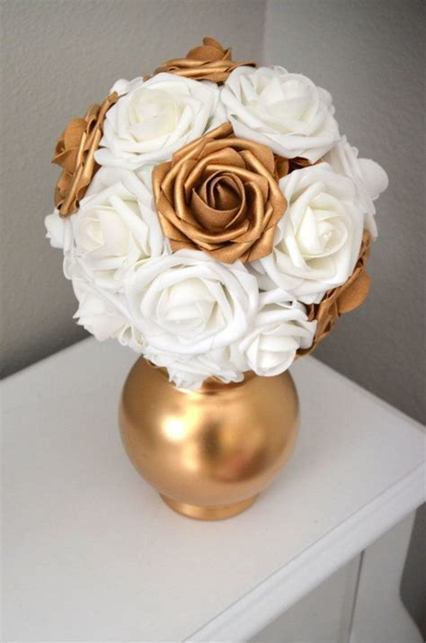 GOLD & WHITE Kissing Ball. Flower Ball. Pomander. Flower