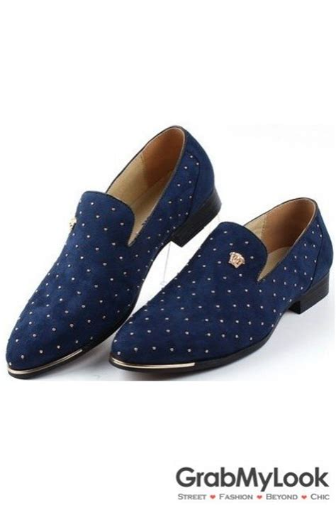 blue suede loafers mens metallic gold studs rivets blue suede loafers oxford