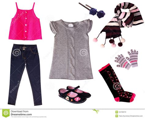 children clothes collage isolated stock image image