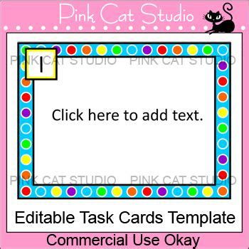 task cards template polka dot rainbow theme editable