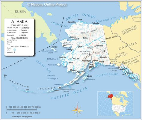 map usa with alaska alaska cities by size