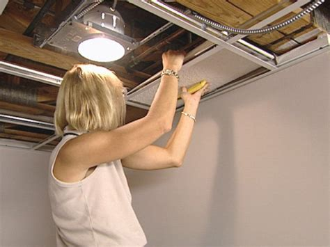 Installing Can Lights In Drop Ceiling How To Install An Acoustic Drop Ceiling How Tos Diy
