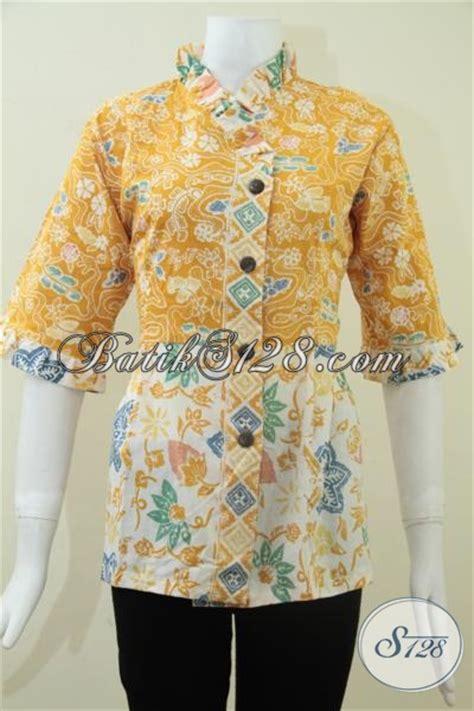 Baju Batik Pastel Kuning baju batik kerja wanita blus batik wanita warna kuning cerah bls1120c m toko batik 2018