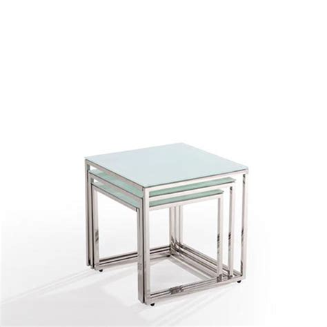 modern nest of 3 clear tempered glass coffee table side