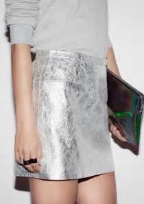 metallic leather mini skirt silver skirts metallics