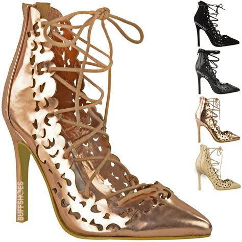 womens style high heel lace up cut out pumps