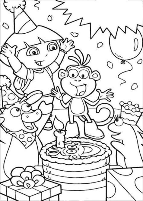 dora happy birthday card coloring page coloring pages