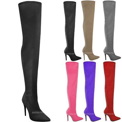 stretch high heel boots womens lycra the knee thigh boots stretch