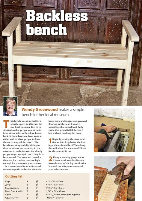 backless bench plans backless bench plans woodarchivist