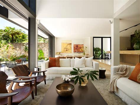 Tropical house contemporary living room sydney by sarah davison interior design
