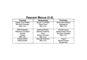 daycare menu template 10 daycare menu templates free sle exle format