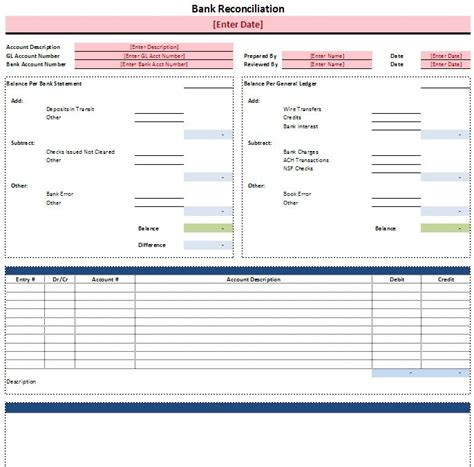 bank reconciliation template spreadsheetshoppe