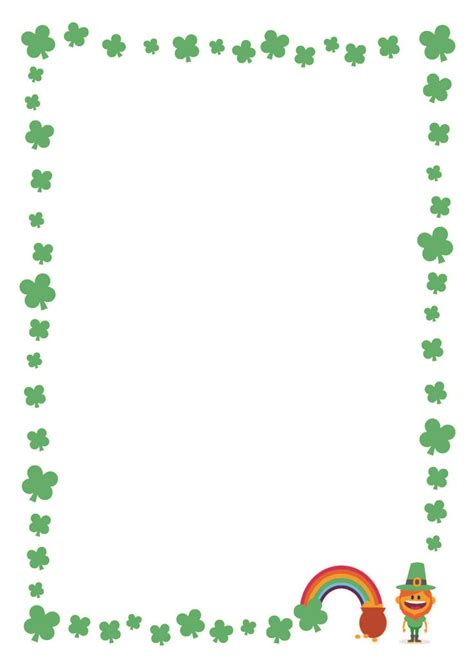 free st s day printable writing paper with clover