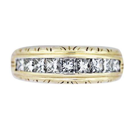 Engraved Wedding Bands by Vintage Princess Cut Engraved Wedding Band Raymond