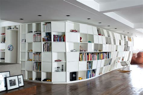 Modern Small Home Library Distorted Bookcase In Apartment By Triptyque