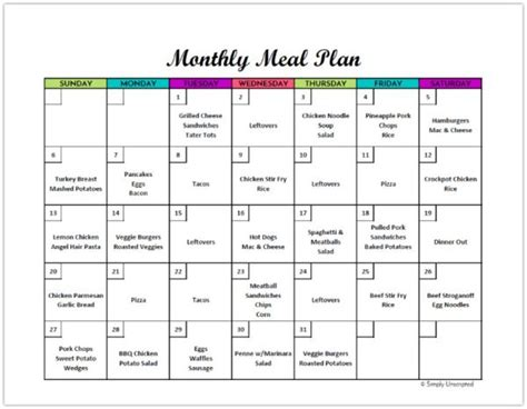 Free Monthly Meal Planner Printable Calendar Template For Menu Planning Monthly Meal Planner Template