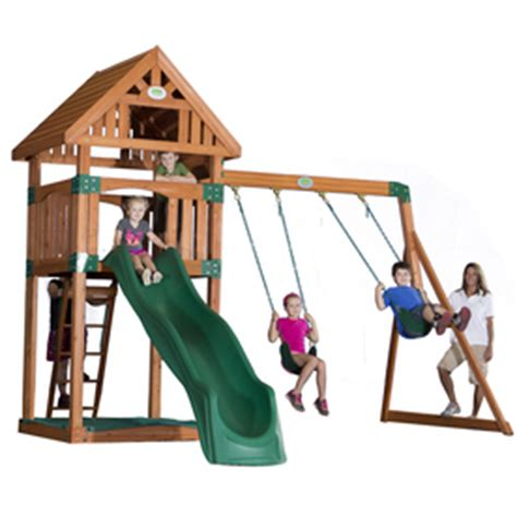 our first soft swing shop backyard discovery trek expandable residential wood