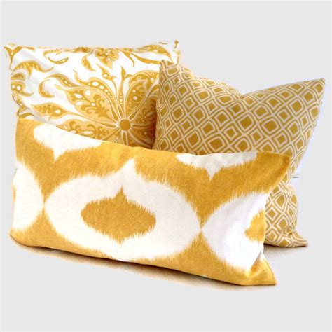 Yellow Pillows For Sofa Duralee Yellow Ikat Sofa Decorative Pillow Cover By Popocolor