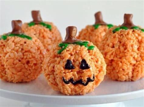 rice krispie treat pumpkins sweets recipes pinterest