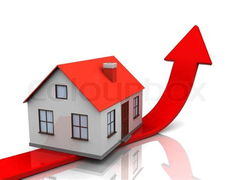 real estate house prices abstract 3d illustration of generic house and red arrow real estate price metaphor