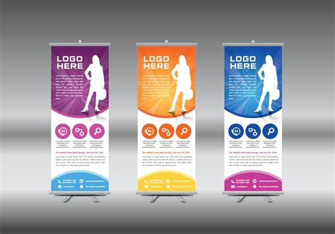 templates for roller banners roll up banner template vector illustration download
