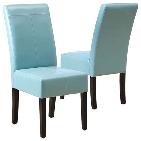 Blue Leather Dining Chairs Stella Blue Leather Dining Chair Set Of 2 Transitional Armchairs And Accent Chairs By