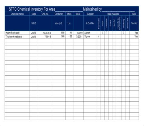 chemical inventory template 15 chemical inventory templates free sle exle