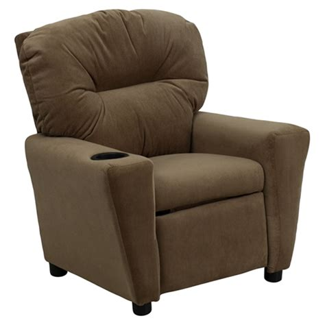 kids recliners with cup holders microfiber kids recliner chair cup holder brown dcg