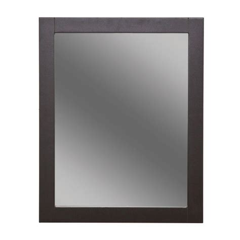 espresso mirror bathroom glacier bay del mar 24 in x 30 in framed wall mirror in