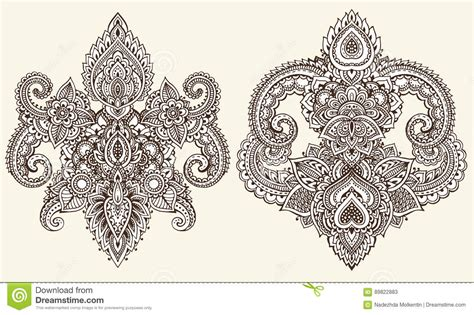 henna tattoo set vector set of henna floral elements vector