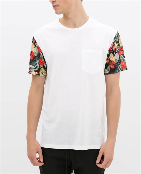 Baju T Shirt Zara zara tshirt with floral sleeve in white for lyst
