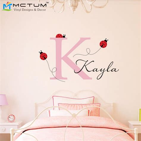 small wall stickers uk aliexpress buy ladybug wall decal with personalized initial name nuresry room