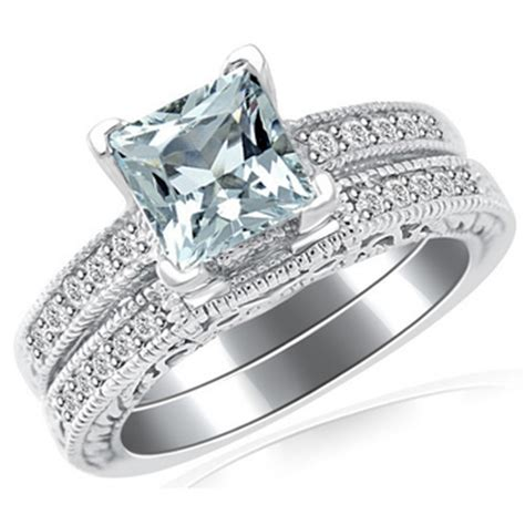 princess cut blue aquamarine engagement ring set
