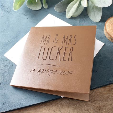 engraved leather anniversary card   ordinary gift