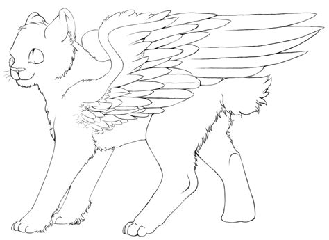 winged cat coloring page free winged cat lineart by color freak1 on deviantart