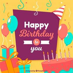 Happy Birthday Flat Design Happy Birthday Background Vector Free