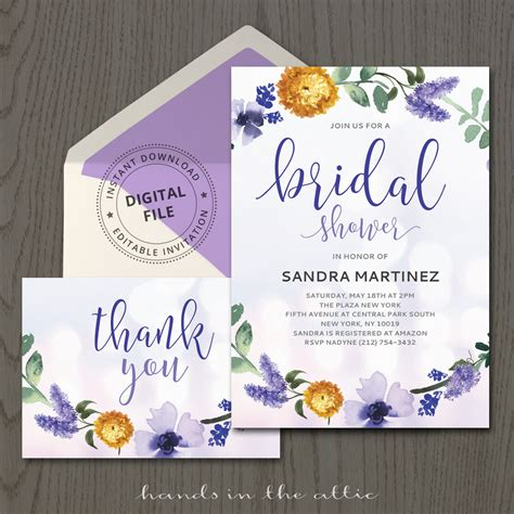 templates for bridal shower purple bridal shower invitation template printable