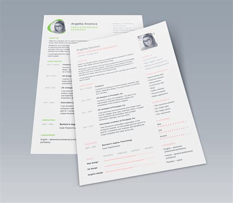 clean ui designer resume template free psd at