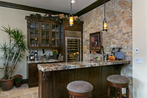 Hanging Wall Dividers by Del Sur Country House Wine Bar Traditional Home Bar