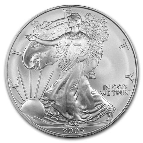 1 oz silver eagle 2005 american silver eagle 1oz coin from u s mint bu