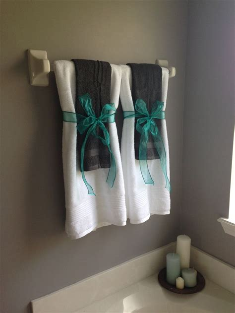 bathroom towel display ideas gray and turquoise bathroom for the home pinterest