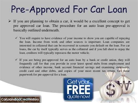 Car Loan Pre Approval Letter Pre Approved Auto Loans Bad Credit