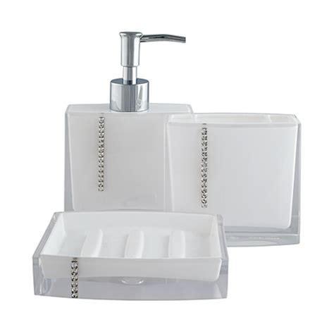 Bling Bathroom Accessories George Home Accessories White Bling Bathroom Accessories Asda Direct