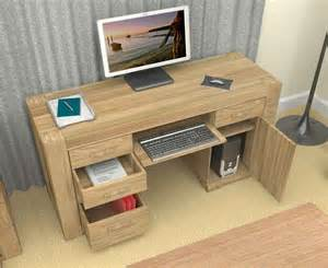 Computer Desks Nz Home Baumhaus Cmr06b Atlas Solid Oak Pedestal Computer Desk