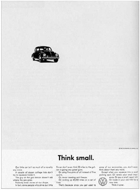 volkswagen think small 1960 think small vw ad a d v e r t i s i n g pinterest