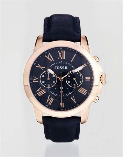 Fossil Fs 4835 Leather Blue Black Grade fossil fossil grant blue leather chronograph