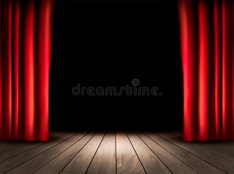 tende da cinema theater stage with wooden floor and curtains stock